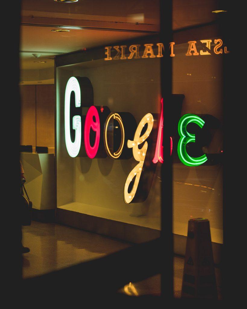 Google sign written in a funky font